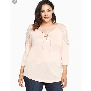 Torrid lace up lace inset tee